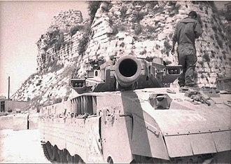 Beaufort Castle, Lebanon - IDF tank near the Beaufort Castle, 1995