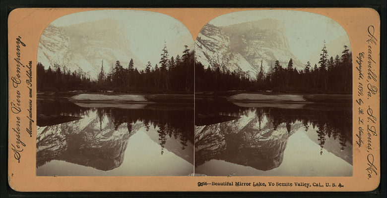 Beautiful Mirror Lake, Yosemite Valley, Cal. U.S.A, by Singley, B. L. (Benjamin Lloyd) 5.jpg