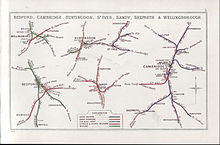 D And J Taxis St Ives Cambridgeshire 1914 Railway Clearing House map showing (upper centre) railways in ...