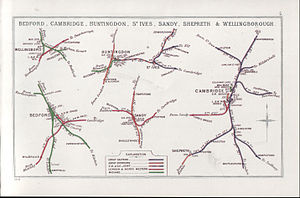 Cambridge railway station - A 1914 Railway Clearing House map showing (right) railways in the vicinity of Cambridge