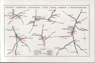 Huntingdon railway station - A 1914 Railway Clearing House map showing (upper centre) railways in the vicinity of Huntingdon (shown here as G.N. STA.)