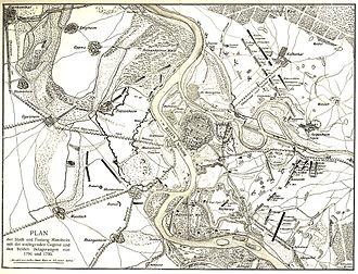 Battle of Mannheim (1799) - Map of Mannheim and vicinity showing the siege works of 1795
