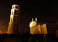 Belfry and Cathedral of Vilnius at night (8178269652).jpg