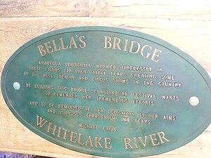 "Arabella Churchill (charity founder) - Dedication plaque on ""Bella's Bridge"""