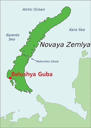 Belushya Guba - Image: Belushya Guba on map of Novaya Zemlya