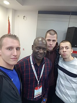 Ben Johnson with the Serbian Beasts.jpg