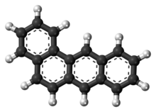 Ball-and-stick model of the benz[a]anthracene molecule