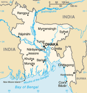 Water supply and sanitation in Bangladesh - Map of Bangladesh