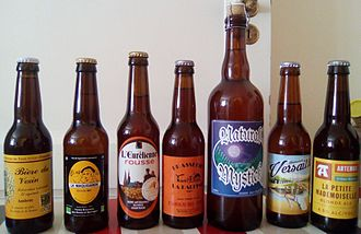 Beer in France - Bottles of beers produced by French microbreweries.