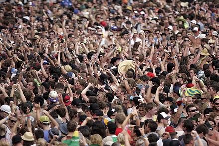 Mexican wave performed at the 2013 Big Day Out music festival in Sydney, Australia Big Day Out (8392285402).jpg