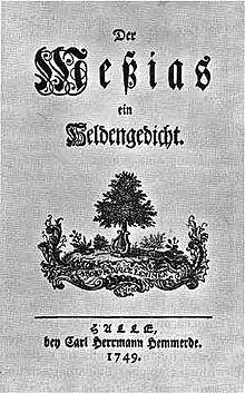Titelblatt der Erstausgabe der ersten drei Gesänge des Messias (1749) (Quelle: Wikimedia)