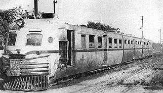 Belgrano Sur Line - A Birmingham railcar in Tapiales, 1957.