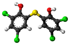 Ball-and-stick model of the bithionol molecule