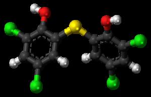 Bithionol - Image: Bithionol molecule ball