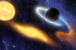 Supermassive black hole - Artist concept of a SMBH consuming matter from a nearby star.