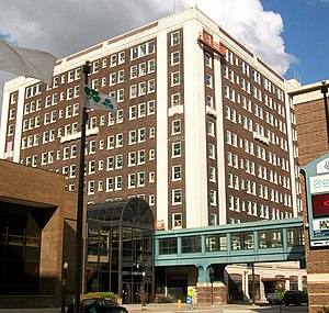 National Register of Historic Places listings in Downtown Davenport, Iowa - Image: Blackhawk Hotel in Davenport, Iowa