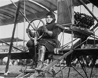 Blanche Scott - Blanche Scott in her biplane, circa 1910-1916