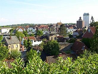 Eckernförde - Image: Blick auf Borby, Hafen und Eckernfoerder Altstadt Juni 2004