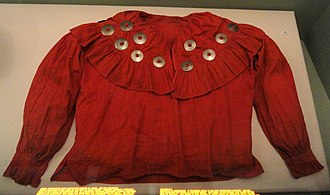 Shawnee Tribe - Shawnee woman's blouse with silver medallions, circa 19th century, Indian Territory (Oklahoma), collection of the Peabody Museum, Harvard