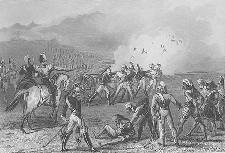 Execution of mutineers by blowing from a gun by the British, 8 September 1857. Blowing Mutinous Sepoys From the Guns, September 8, 1857 - steel engraving.jpg