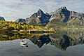 Boat with autumny mountains at Digermulen, Hinnøya, Norway, Norway, 2015 September.jpg