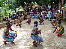 Traditional Ewe dancers performing the bɔbɔbɔ