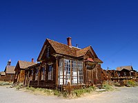 A street corner in the ghost town of Bodie, California.
