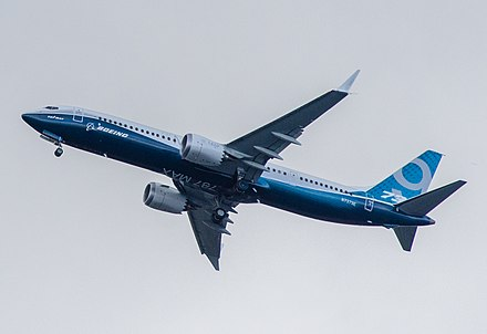 737 MAX 9 first flight on April 13, 2017 Boeing, N7379E, Boeing 737-9 MAX (cropped).jpg