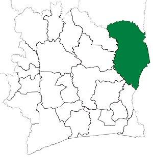 Bondoukou Department - Image: Bondoukou Department locator map Côte d'Ivoire (1969 74)