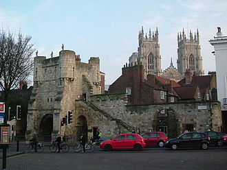 Bootham Bar in the shadow of York Minster. Bootham Bar 2.JPG
