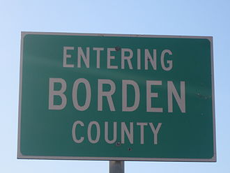 Gail Borden - Borden County limits sign on U.S. Highway 180 east of Gail, Texas
