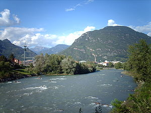 Eisack - The river near the city of Bolzano