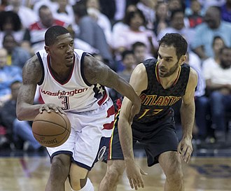 José Calderón (basketball) - Calderón defending Bradley Beal during Game 1 of the Hawks' 2017 first-round playoff match-up with the Washington Wizards.