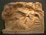 Brauron - Marble slab with the Recall of Philoctetes