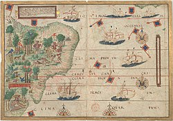 Portuguese map by Lopo Homem (c. 1519) showing the coast of Brazil and natives extracting brazilwood.