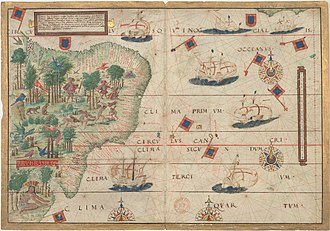 Colonial Brazil - Portuguese map by Lopo Homem (c. 1519) showing the coast of Brazil and natives extracting brazilwood, as well as Portuguese ships.