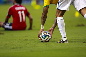 Adidas Brazuca - The Adidas Brazuca being used in the 2014 FIFA World Cup quarter final between Brazil and Colombia.