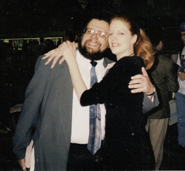 Brian Thomsen and SF/Fantasy Book Cover Model, Lisa Feerick Pollison at the 1994 ABA Book Expo in Downtown Los Angeles.