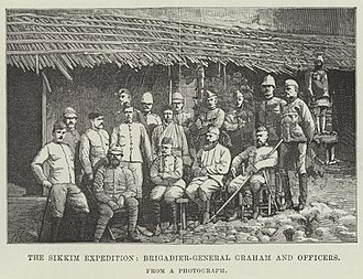 Sikkim expedition - Colonel Thomas Graham and other officers of the British expedition.