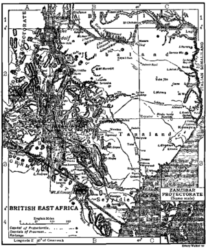 East Africa - Map of British East Africa in 1911