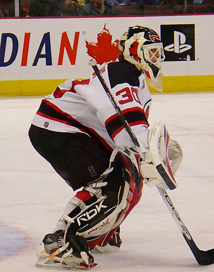 Martin Brodeur gardien des Devils du New Jersey. - Ligue nationale de hockey
