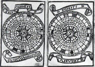 "Brouscon's Almanach of 1546: Tidal diagrams ""according to the age of the moon"". Brouscon Almanach 1546 Tidal diagrams according to the age of the Moon.jpg"