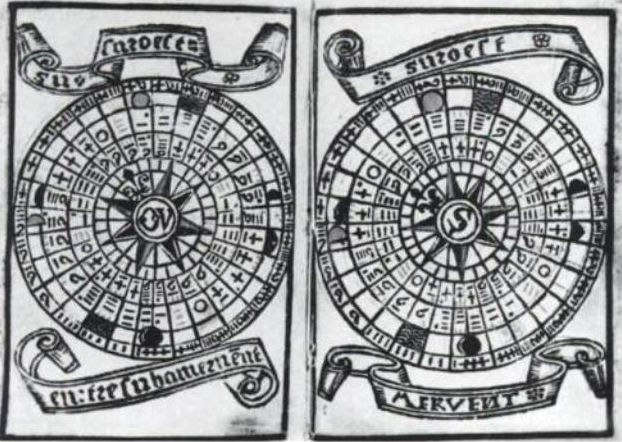 Brouscon Almanach 1546 Tidal diagrams according to the age of the Moon