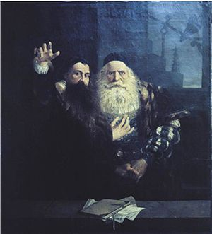 Václav Brožík - Comenius says goodbye to Karol the Elder of Zierotin (1873)