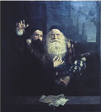 Václav Brožík - Comenius says goodbye to Karol the Elder of Zierotin (1873)