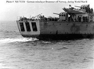 HNoMS Olav Tryggvason - The mine launching doors and aft guns of the Brummer