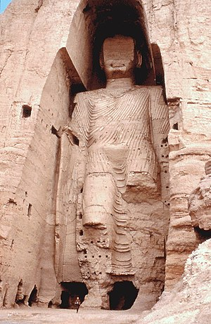 Omar ordered the destruction of the Buddhas of Bamiyan (pictured in 1976) in March 2001, receiving international condemnation.