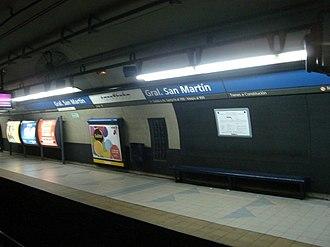 General San Martín (Buenos Aires Underground) - Image: Buenos Aires Subte San Martín 2