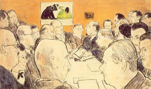 Ernst Oppler - Oppler at a meeting of the Berlin secession (between Lovis Corinth and Emil Orlik), drawing by Erich Büttner, 1921
