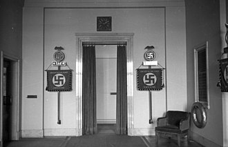 Brown House, Munich - Display of NSDAP and SA Deutschland Erwache standards inside the Brown House, 1933